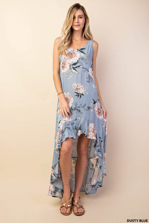 """Ole Behind Blue Eyes"" Baby Blue Floral Hi~Low Maxi Dress"