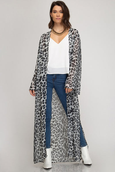 """Ole Spellbound""  BLACK/GREY LEOPARD Print Side Slit Floor Length Duster Cardigan"