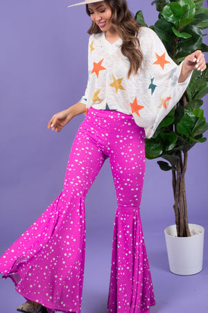 """Ole Starry Starry Nights"" HOT PINK & White Star Print Ruffle Bell Bottom Pants"