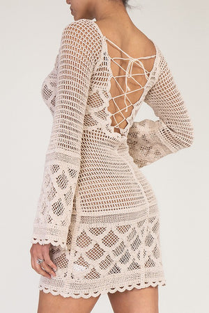 """Ole Lady Jane"" Crochet Bell Sleeve Dress"