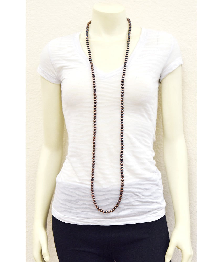 """Ole Copperline"" Copper Pearl Extra Long 50 inch Single Strand Necklace ~ 8mm"