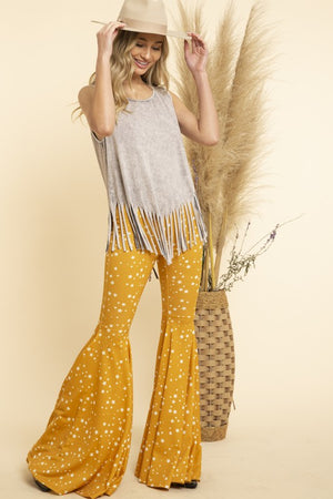 """Ole Starry Starry Nights"" Mustard Yellow & White Star Print Ruffle Bell Bottom Pants"