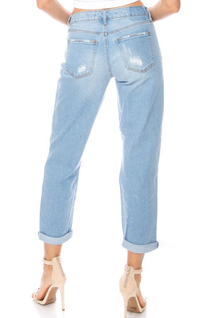 """Ole Holy Nights"" Distressed Boyfriend Style Cuffed Crop Jeans"