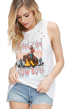 """Ole Long Live Cowboys"" Distressed Graphic Tank"