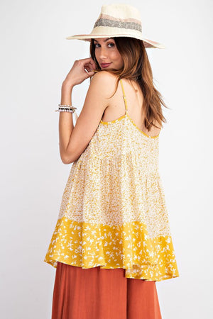 """Ole Daisy Bell"" Mustard Floral Print Baby Doll Tank Top"