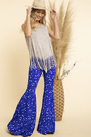 """Ole Starry Starry Nights"" Navy Blue & White Star Print Ruffle Bell Bottom Pants"
