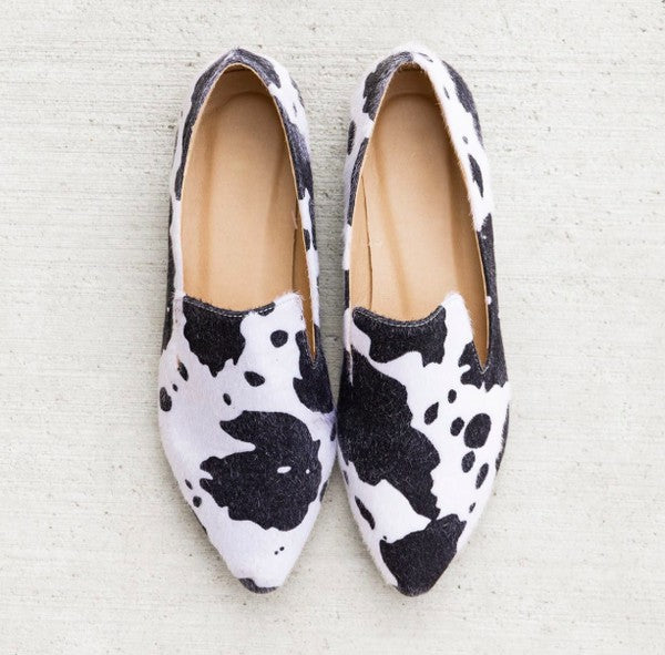 """Ole Loafin' Around"" Fuzzy Cow Puncher Print Slip On Loafers"