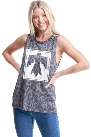 """Ole RAWRin' Thunder"" Charcoal Leopard Graphic Tank"
