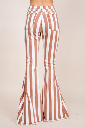 """Ole Gingersnap"" Thick Striped Denim Bell Bottoms"