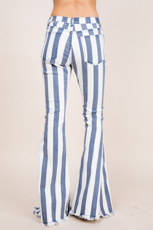 """Ole Loco Motives"" Grey & White Striped Denim Bell Bottoms"