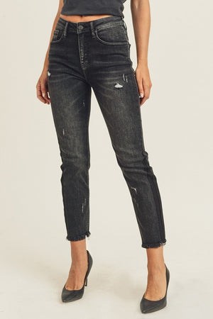 """Ole Midnight Rider"" Distressed BLACK Denim Cropped Skinny Jeans"