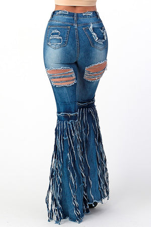 """Ole Rip Her To Shreds"" Dark Blue Distressed Denim Fringe Bell Bottoms"