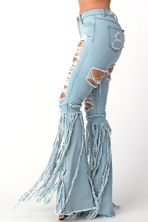 """Ole Rip Her To Shreds"" Light Wash Distressed Denim Fringe Bell Bottoms"