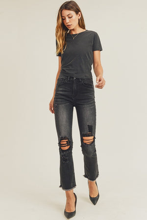 """Ole Black Hills"" Distressed Faded BLACK Boot Cut Ripped Knees Cropped Jeans"