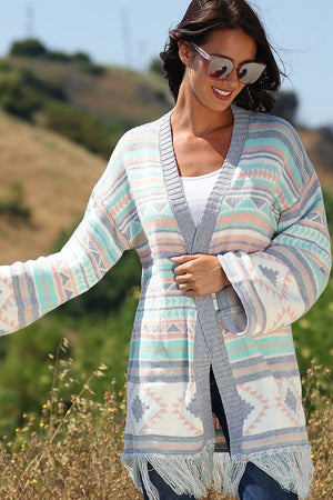"""Ole Coastline Journey"" Aztec Print Sweater Cardigan"