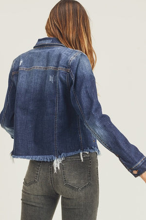 """Ole Jean Genie"" DARK BLUE Denim Cut Off/Frayed Bottom Jean Jacket"