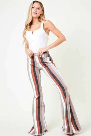"""Ole Pumpkin Spice"" Thick Striped Denim Bell Bottoms"