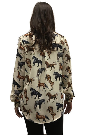 """Ole Horse & Pony Show"" Horse Print Button Up Blouse"
