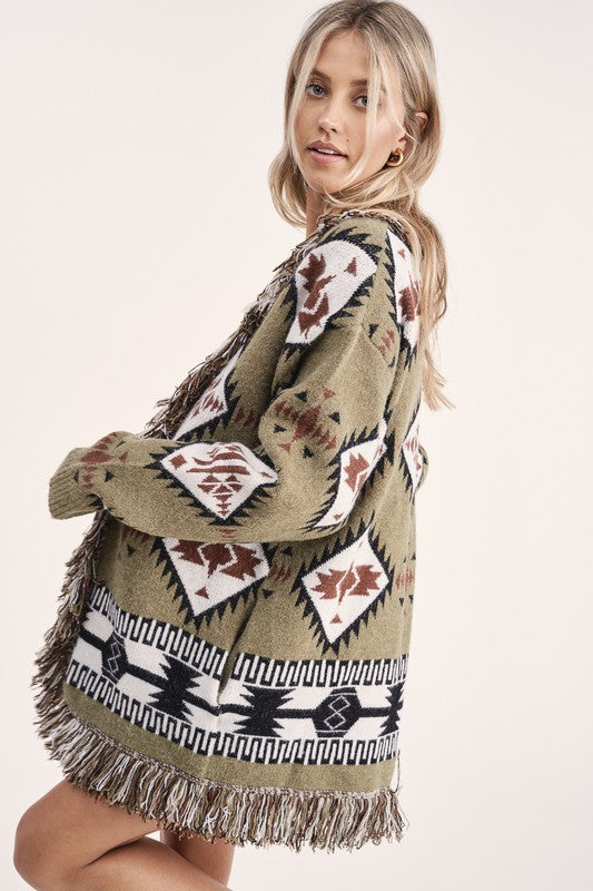 """Ole Buckberry Creek"" Olive Green Aztec Print Fringe Trim Sweater Cardigan"