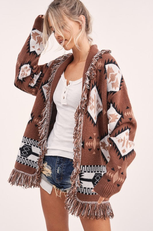 """Ole Buckberry Creek"" Chocolate Brown Aztec Print Fringe Trim Sweater Cardigan"
