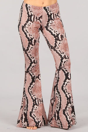 """Ole Snake Rattle & Roll"" Desert Plum Snakeskin Print Bell Bottom Pants"