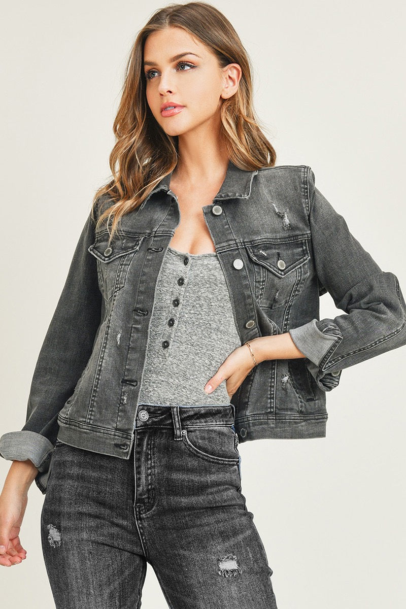 """Ole Grey Street""  Charcoal Grey Distressed Denim Jean Jacket"