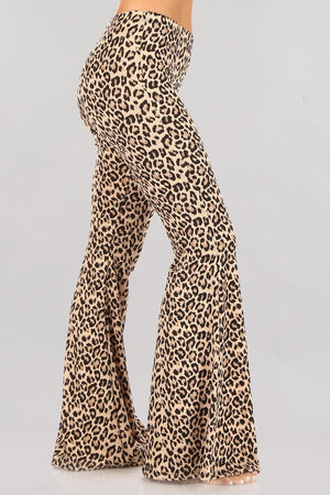 """Ole Florence & The MEOWchine"" Leopard Print Bell Bottom Pants"