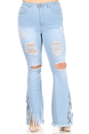 """Ole Street Sweeper"" LIGHT BLUE Distressed Denim Frayed Fringe Bell Bell Bottom Jeans"