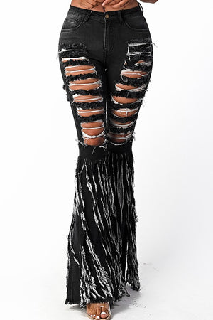 """Ole Rip Her To Shreds"" Black Distressed Denim Fringe Bell Bottoms"
