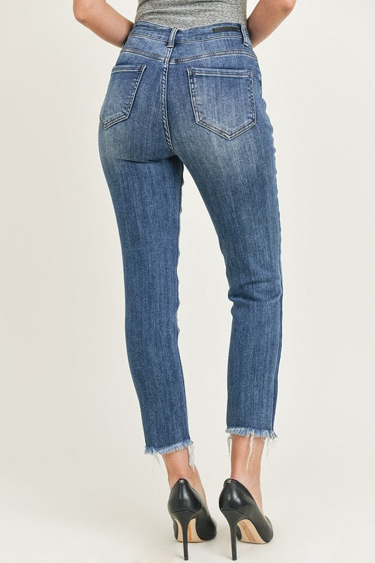 """Ole Midnight Rider"" Distressed MEDIUM BLUE Denim Cropped Skinny Jeans"