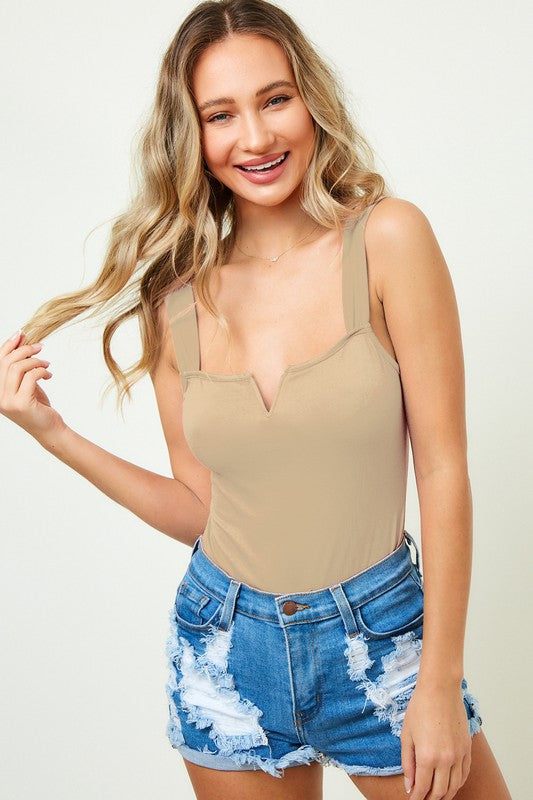 """Ole Basic V Cut"" Thick Strap Taupe Bodysuit"
