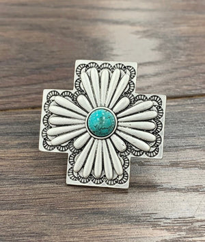 Turquoise Stone Etched Silver Cross Concho Adjustable Ring