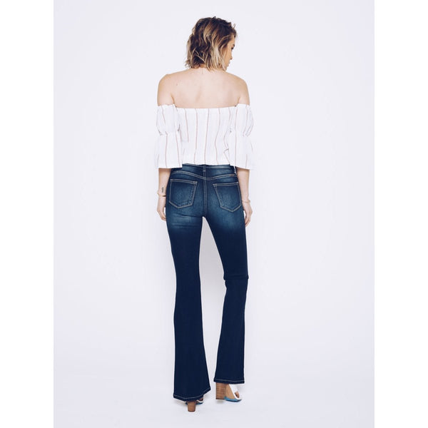 "KanCan ""Kimmy-Aurora"" Dark Wash Creamy White Stitch Boot Cut Flare Jeans"