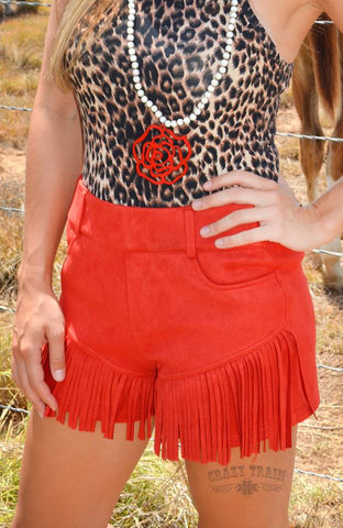 """Miss Farrah Fringe"" Red Suede Fringe Shorts"