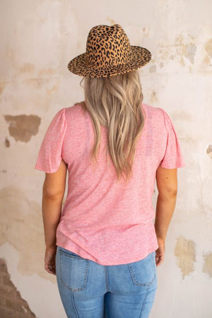 """Ole Flutter Sleeve"" Scoop Neck Basic Tee ~ Rose Pink Ash"