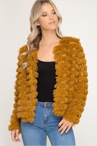 """Ole Yellowstone"" Fuzzy Spicy Mustard Layered Faux Fur Coat"