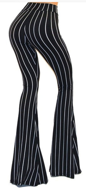 """Ole Sargent Pepper's"" Black & White Vintage Striped Bell Bottoms"
