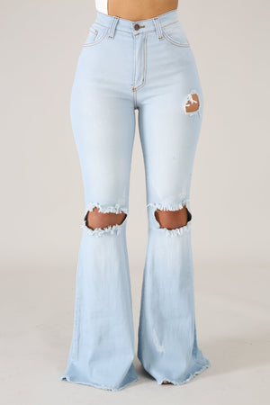 """Ole High Cotton"" Distressed Denim Bell Bottom Flare Jeans ~ Light Denim Wash"