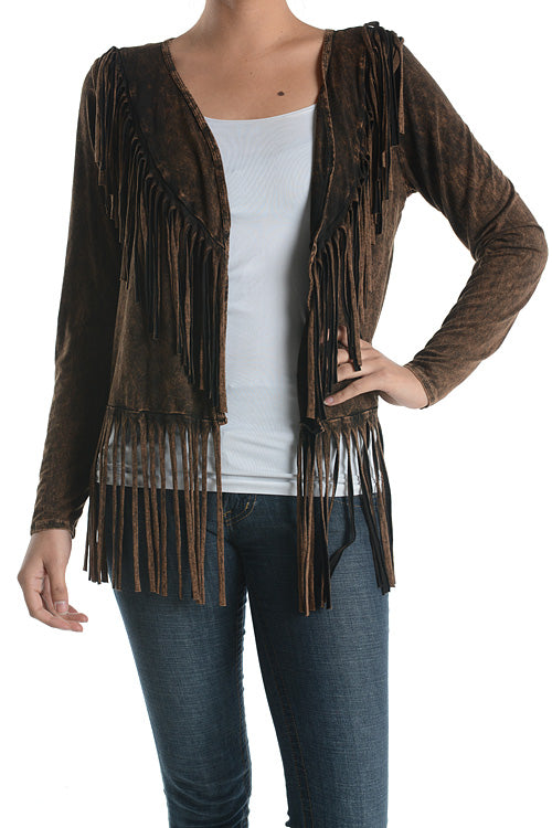 """On the Fringe"" Brown Mineral Washed Fringe Cardigan"