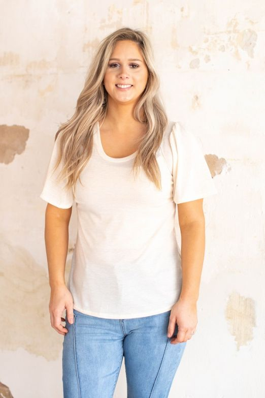 """Ole Flutter Sleeve"" Scoop Neck Basic Tee ~ OatmealAsh"