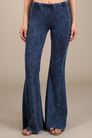 Dark Blue Mineral Washed Bell Bottom Pants