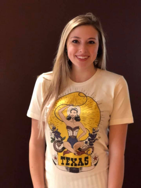 """Ole Texas Roping Queen"" Pin Up Cowgirl Graphic Tee"