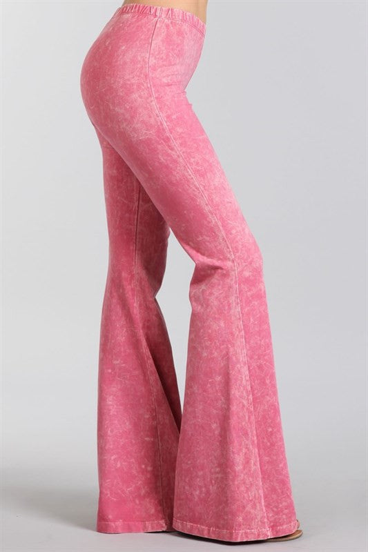 Flamingo Pink Mineral Washed Bell Bottom Pants