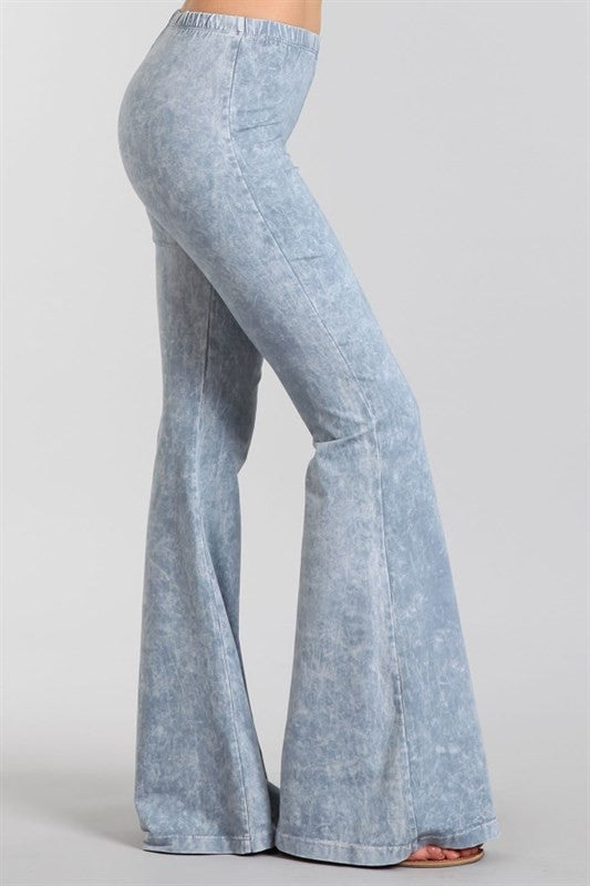 Marine Layer Foggy Blue~Grey Mineral Washed Bell Bottom Pants