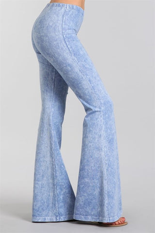 Lavender Blue Mineral Washed Bell Bottom Pants
