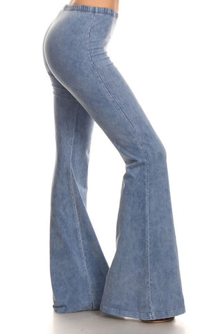 Light Blue Denim Wash Mineral Washed Bell Bottom Pants