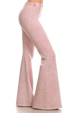 Baby Pink Mineral Washed Bell Bottom Pants