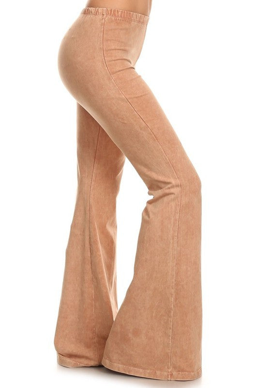 Camel Brown Mineral Washed Bell Bottom Pants