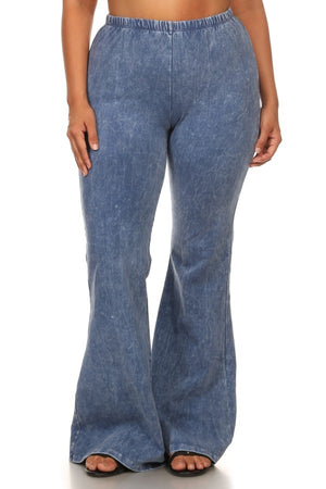 Light Blue Mineral Washed Bell Bottom Pants