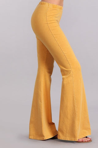Mustard Mineral Washed Bell Bottom Pants